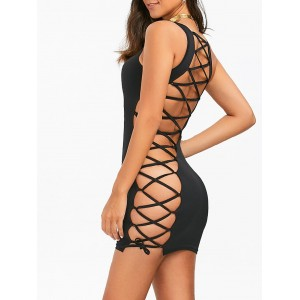Lace-Up Open Back Bodycon Tank Dress