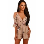 Navy Multi Floral Ruffle Wrap Cold Shoulder Playsuit Apricot