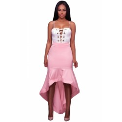 Pink Ruffle Hemline Splice High Low Skirt