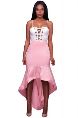 Pink Ruffle Hemline Splice High Low Skirt