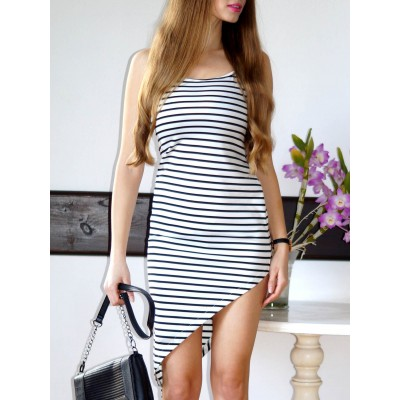 Stylish Spaghetti Strap Striped Asymmetrical Dress For Women