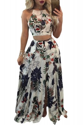 Trendy Floral Crop Top Split Maxi Skirt Set