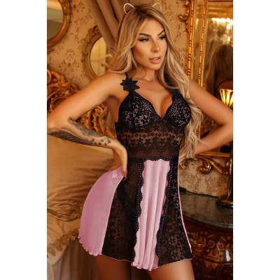 Sweet Pink Lace Nightdress Babydoll Blue Black