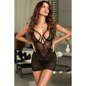 Black Hollow Out Lace Mesh Mini Dress Lingerie