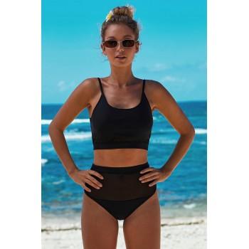 Black The Weekend Two-piece Mesh Patchwork Bikini Green