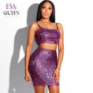 EvaQueen Sexy Sequined 2 Piece Set Women 2018 Spaghetti Strap Crop Top And High Waist Two Piece Set Mini Skirt Party Outfits