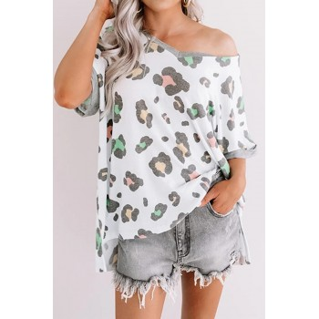 Leopard Print Contrast Trim Relaxed Fit Tee