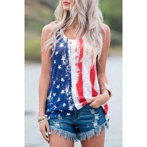 Stripes Star American Flag Print Tank Top