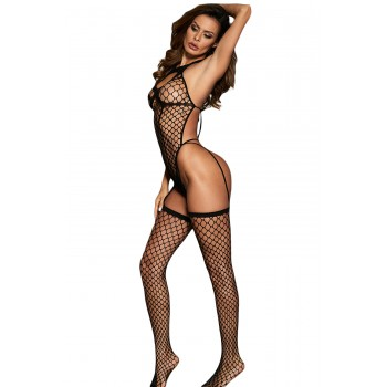Keyhole Front Open Back Netted Bodystocking