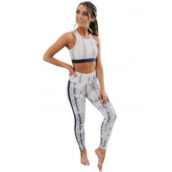 Snaking Around Snake Print Athletic Crop Vest Leggings Set