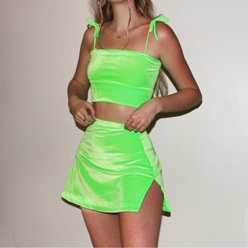 Neon Green Sexy Women 2pcs Tied Shoulder Velvet Stretch Bodycon Crop Top Mini Skirt Set Backless Suits Party Clubwear Sets S-L