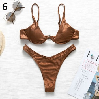 In-X Sexy micro bikini set 2020 Push up swimsuit female Shiny bikinis Underwire swimwear women Two piece set bathing suit new