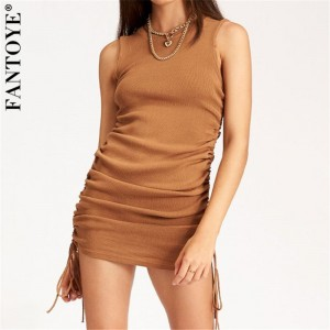 FANTOYE Cotton Ruched Drawstring Sexy Party Dress Women Sleeveless Elastic Mini Dress Vintage Summer Bodycon Club Wear Vestidos