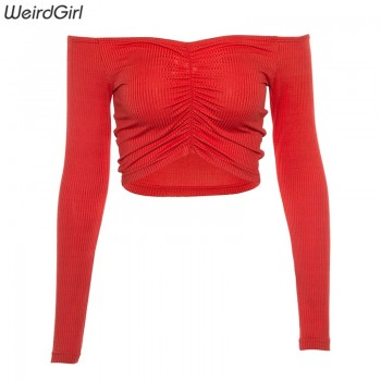 Women T-shirts sexy and club fashion female T-shirt long sleeve off shoulder solid color lady Tshirt autumn basic tees