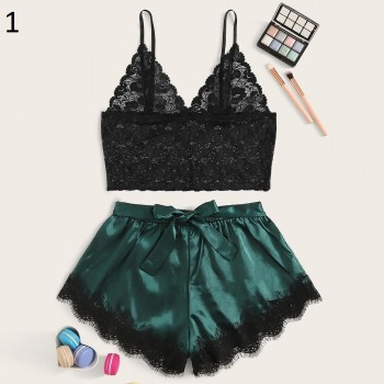 Lace Satin Cami With Striped Shorts Women Pijamas Sexy Sleepwear Set Eyelash 2020 Summer Ladies Shorts Set Nightwear 2 PCS