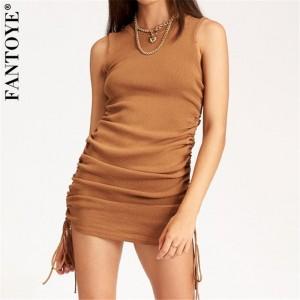 FANTOYE Cotton Ruched Drawstring Sexy Party Dress Women Sleeveless Elastic Mini Dress Vintage Summer Bodycon Club Wear Vestidos