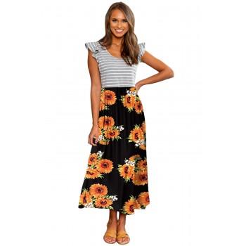 Yellow Ruffle Sleeve Stripe Floral Print Long Dress Black