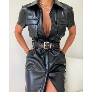 Sexy Dress Sash Button Black Belt Dress Vestido Solid Turn-down Collar Pocket Design PU Shirt Dress
