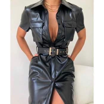Sexy Dress Sash Button Black Belt Dress Vestido Solid Turn-down Collar Pocket Design PU Shirt Dress
