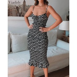 Women Summer Floral Print Midi Dress Spaghetti Strap Backless Deep V Neck Ruffle Bodycon Dress