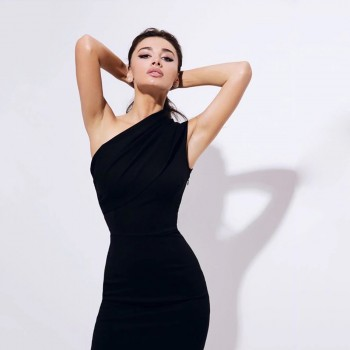 Women's Black Apricot Bandage Bodycon Dress Sexy One Shoulder Sleeveless Skinny