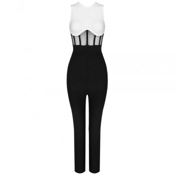 Sleeveless O-neck Mesh Patchwork Bandage Jumpsuit Bodycon Celebrity Club Party Runway Jumpsuit