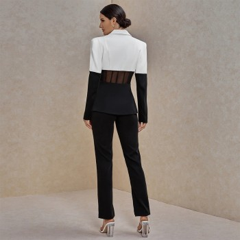 Two Piece Set Women Suit Blazer and Pants Club Two Piece Outfits Runway Clothes 2020 Fall Black and White 2 Piece Set