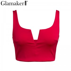 Black deep v neck summer sexy crop top Women white strap short tank tops Female red sleeveless