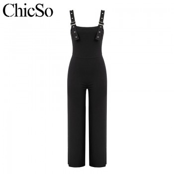Black sleeveless jumpsuits rompers Women wide leg casual sexy jumpsuit summer high waist