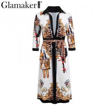 Ethnic print deep v neck long sleeve elegant Dress women spring midi shirt dress White