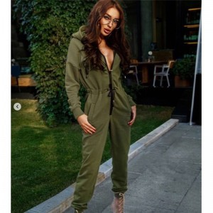 Long Sleeve High Waist Jumpsuit Hoodies Street Wear Drawstring Blue Green Purple Red