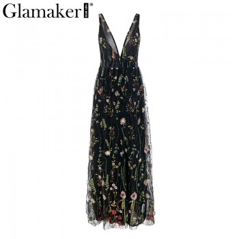 Mesh embroidery floral maxi dress Women backless deep v neck loose dress elegant Black