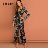 Multicolor Waist Knot Chain Print V-Neck Jumpsuit Going Out Elegant Office Lady Long Sleeve
