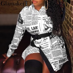 Newspaper print letter blouse shirt Women long sleeve sexy vintage Female blouse White