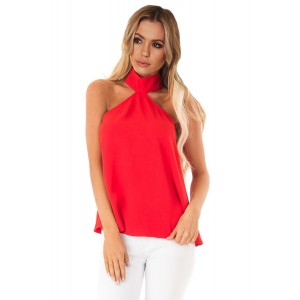 Red Sleeveless Halter Top with Keyhole Back Black White