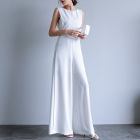 Round Neck Sleeveless overalls Summer Office Lady Female Elegant Long Wide Leg Black White
