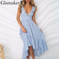 Ruffle lace up blue sexy dress Women backless high waist turn down maxi dress Beach summer dress Blue