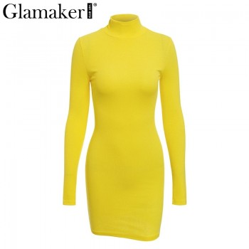 Sexy turtleneck knitted dress Women summer bodycon black dress Female long sleeve party Orange Yellow Apricot