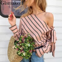 Striped chiffon one shoulder women blouse shirt Summer elegant casual female blouses Pink Blue
