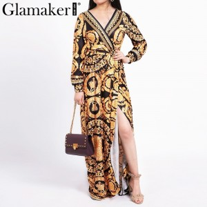 Vintage split sexy boho dress Women summer elegant print maxi dress long sleeve Yellow