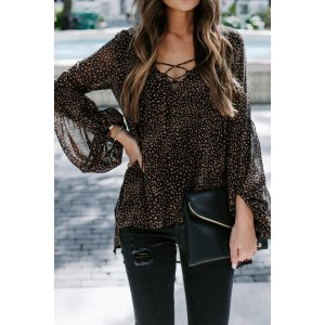 Black Lantern Sleeve Lace Up Blouse White Brown