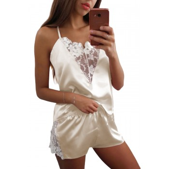 Apricot Lace Decor Satin Sleepwear Cami Top and Shorts Pajama Set Gray Blue Pink