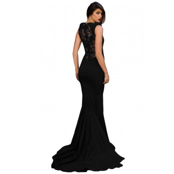 Blue Floral Embroidery Fishtail Evening Dress Black