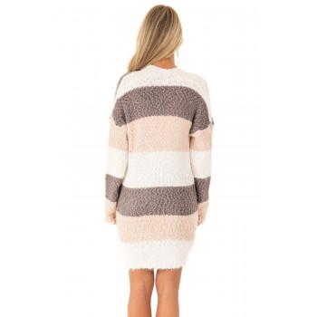 Pink Color Block Drape Oversized Knitted Cardigan Brown Multi