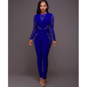 Long Sleeve Black Lace Jumpsuit Women Sexy See Through Mesh Bodycon Long Pants Romper Club Wear Party One Piece Jumpsuit Outfits Black Blue Red