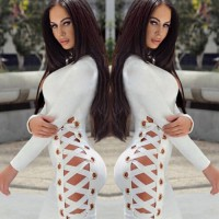 Women Sexy Summer Cross Bandage Lace Up Zipper Vestidos Bodycon Evening Party Club Wear V-neck Casual Short Mini Dress White