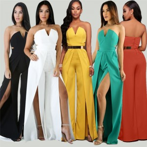 Women Summer Jumpsuits Strapless Off the Shoulder Wide Leg Thigh High Split Loose Long Pants Romper Ladies Party Jumpsuit Outfit