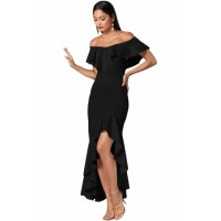 Black Ruffled Off Shoulder High Low Mermaid Dress red blue