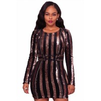Glittering Gold Sequined Lace-up Waist Mini Dress silver