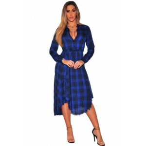 Red Black Plaid Button Down V Neck Shirt Dress